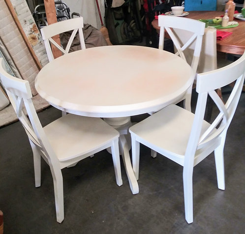 Small round white table with 4 chairs, great project piece!