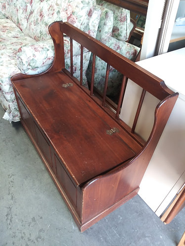 nice solid wood bench and storage