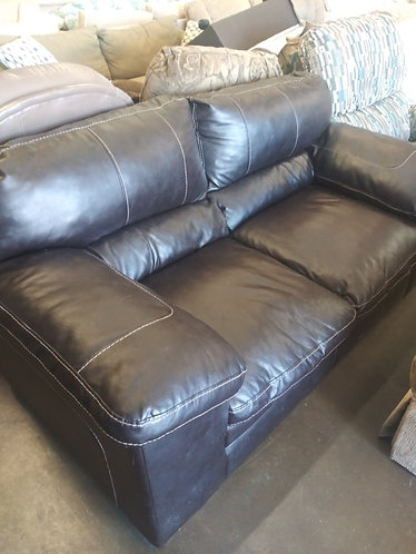 Comfortable Dark Brown Vinyl Leather Loveseat