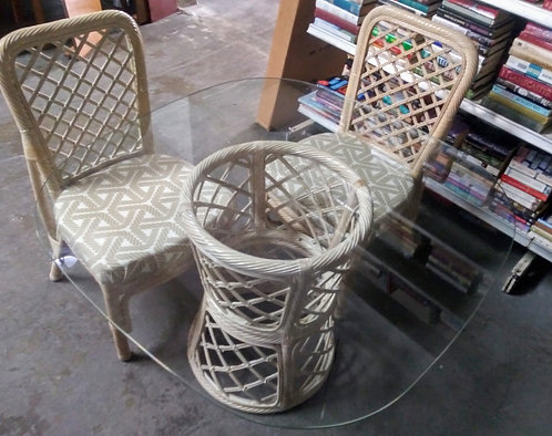 Super cute glass top rattan table and 2 matching chairs