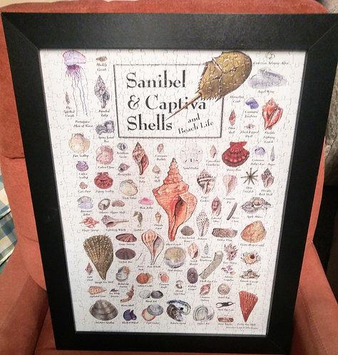 """Unique """"Sanibel & Captiva Shells"""" framed puzzle art"""