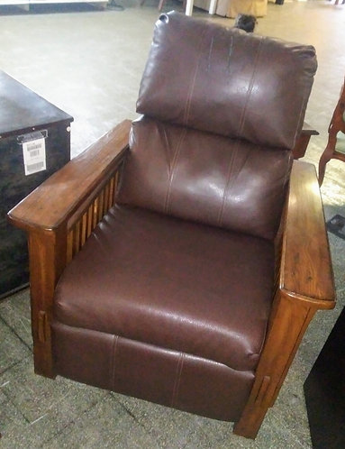 Really cool leather recliner with wood arms