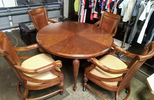 Stunning unique wood dining room table with 4 matching rolling chairs
