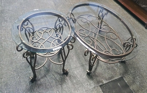 Bronze painted iron glass top coffee table and end table
