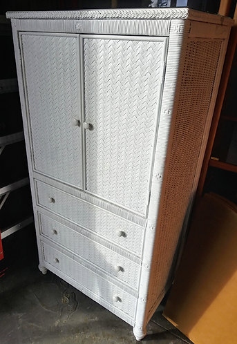 Gorgeous white wicker T.V. cabinet with plenty of storage!