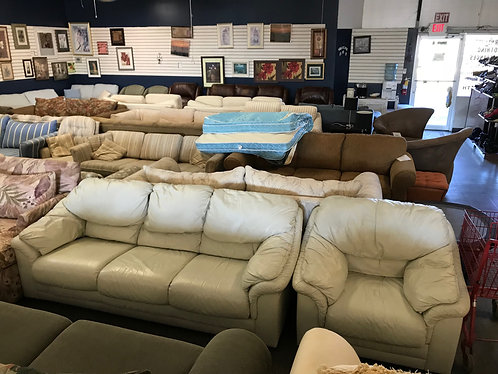 Leather Couch and Arm Chair