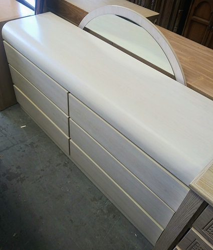 Very nice cream colored dresser with mirror