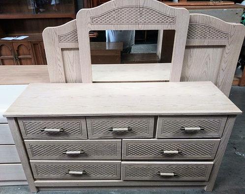 Gorgeous rattan dresser, mirror, and queen size headboard