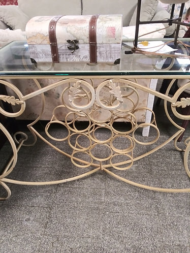 Glass top 13-bottle wine rack/entry table