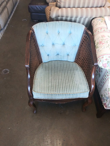 Teal Tufted Rolling Chair with Wooden Arms