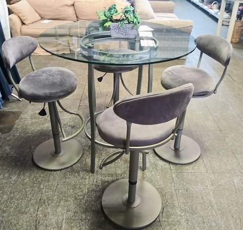 Pub style glass top table with 4 swivel bar stools