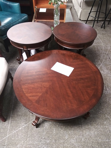 Gorgeous Dark Wood Round Coffee Table with Matching End Tables