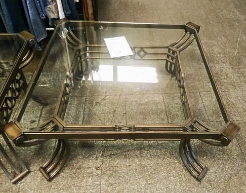 Stunning and quite large glass top coffee table and 2 matching end tables
