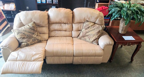 Super clean double reclining beige leather sofa