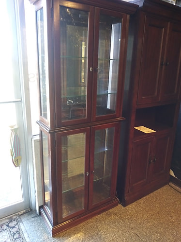 Stunning Dark Wood Mirrored China Cabinet