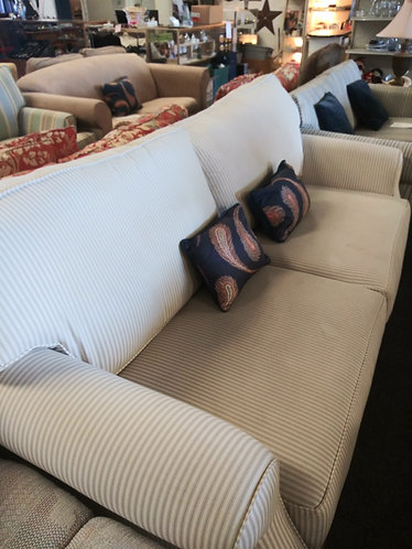 Affordable and Nice White Striped Sofa