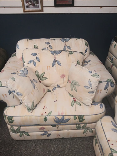 floral arm chair with foot stool