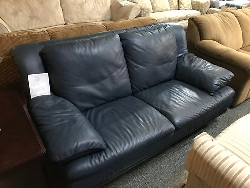 Navy Natuzzi Leather Couch