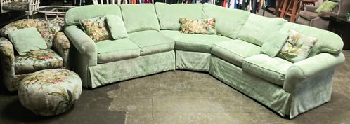High end U-shaped sectional, decorative arm chair and ottoman, and 2 bar stools!