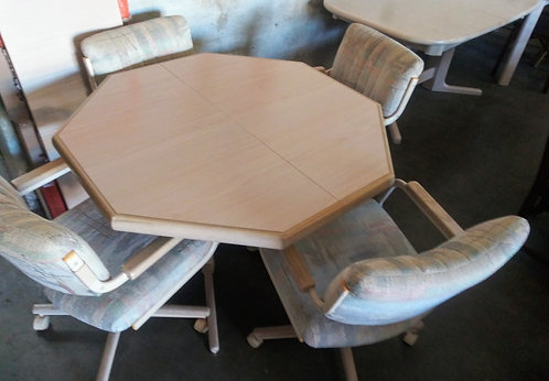 Durable and affordable dinette set with 4 rolling chairs