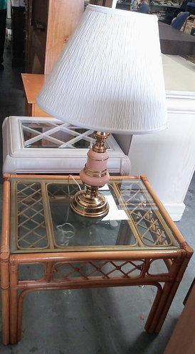 Gorgeous rattan glass top end table