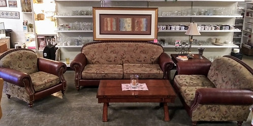 """""""Victorian Style"""" upholstered leather sofa, love seat, and arm chair"""