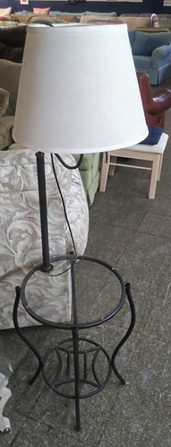 Small glass top end table with attached lamp
