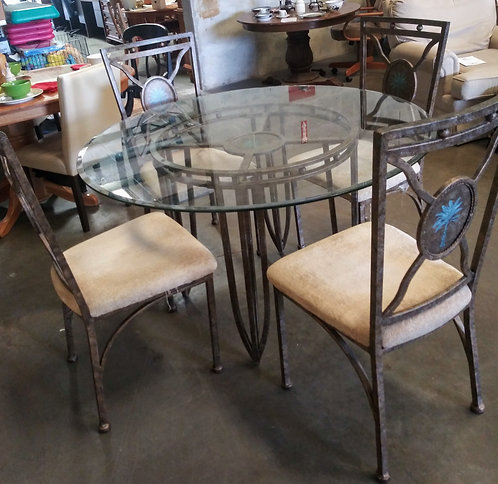 Glass top kitchen table with 4 chairs