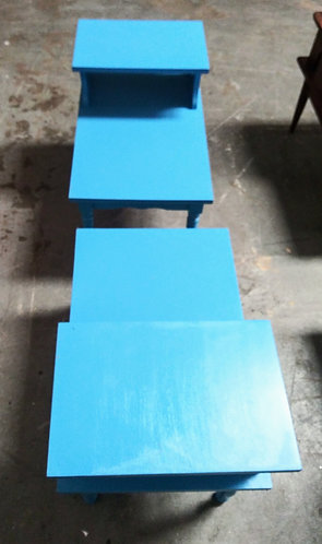 nice blue wood end tables
