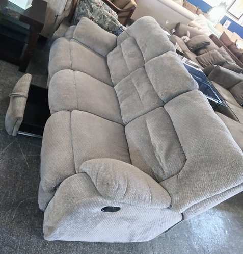 Super clean double reclining sofa with built in storage!