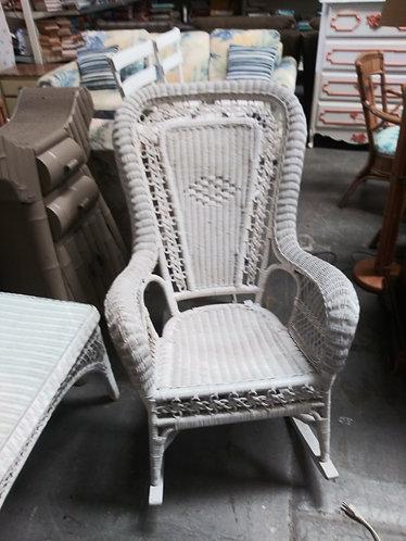amazing white wicker rocking chair