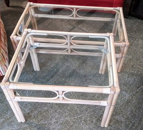 Nice bamboo glass top coffee table and side table