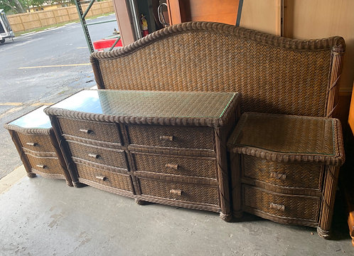Wicker Dresser, two Nightstands, and King Headboard