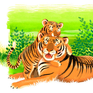 'Mommy Loves You' - Tigers and Antelope
