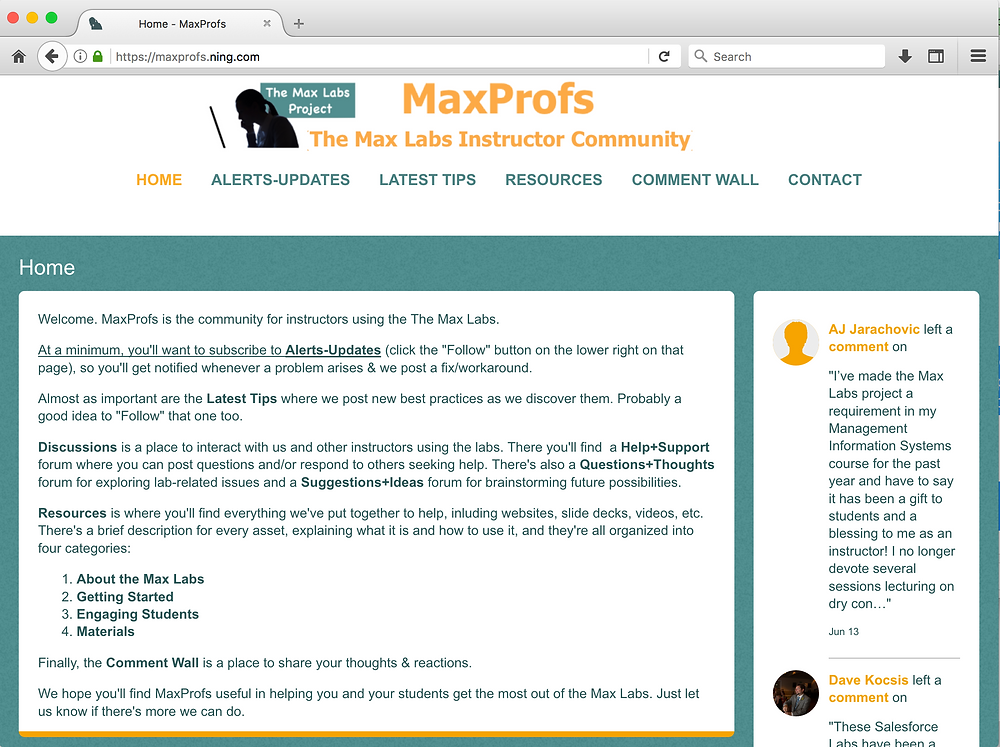 screen capture of the MaxProfs website