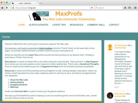 MaxProfs: New Online Community for Max Labs Instructors