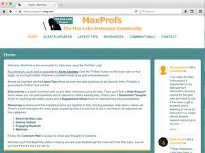 screen capture of the MaxProfs website