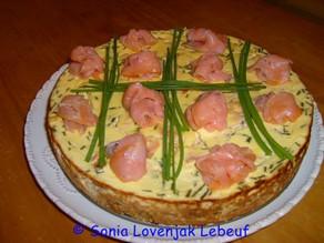 cheesecake au saumon fumé et à la ciboulette