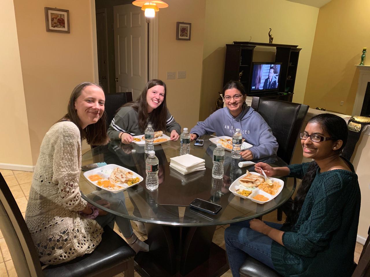 Elizabeth Emily Rhea Nivetha dinner
