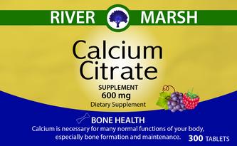Calcium Citrate Vitamin label