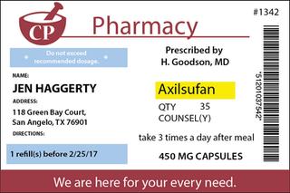 Axilsufan Pill Bottle Label