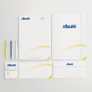 ALSURE LOGO & STATIONERY LETTERHEADS BUSINESS CARDS Zest! Graphics Ltd - Graphic Design and Print Redditch Worcestershire