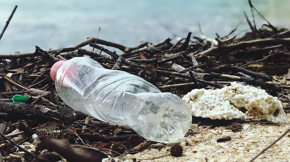 a plastic bottle polluting the beaches
