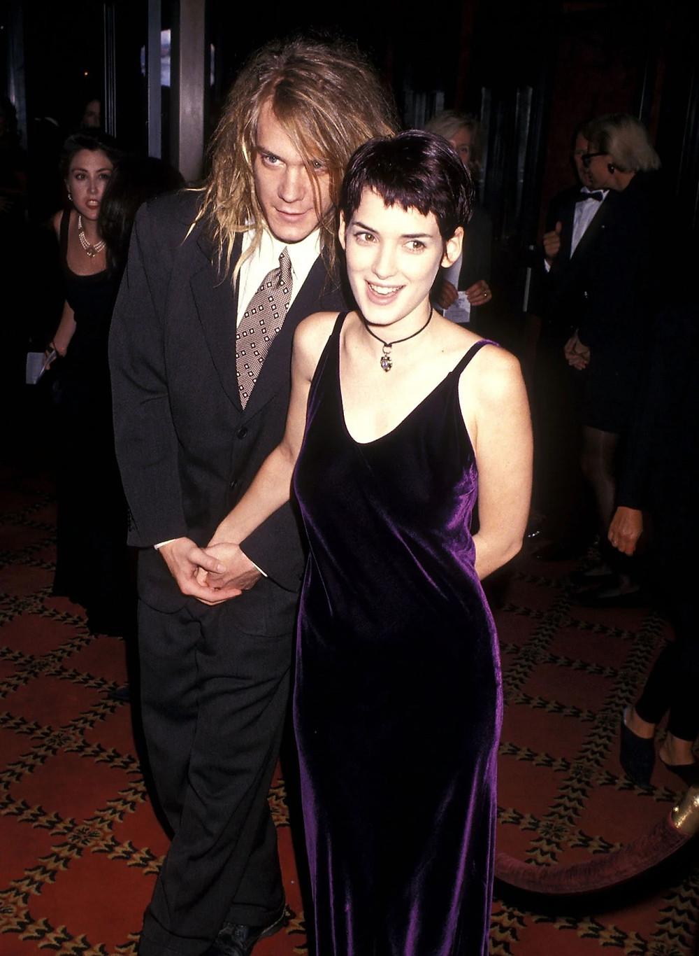 velvet dress on the red carpet worn by Winona Ryder