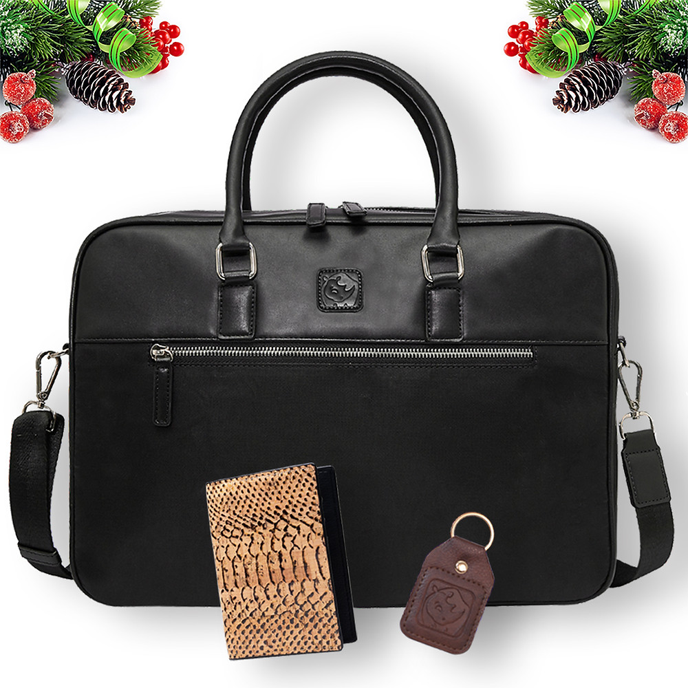 A gift set from White Rhino Bags including a briefcase bag made from recycled materials, cork leather wallet and key chain