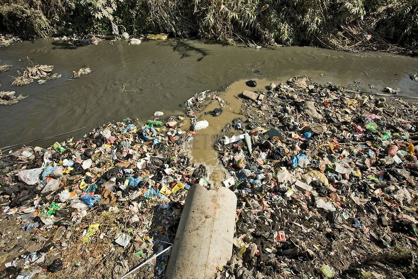 A river in Nepal completely ruined by human-produced pollution