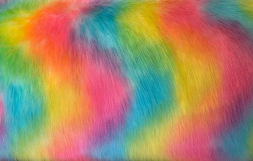 Rainbow Wolf Faux Fur