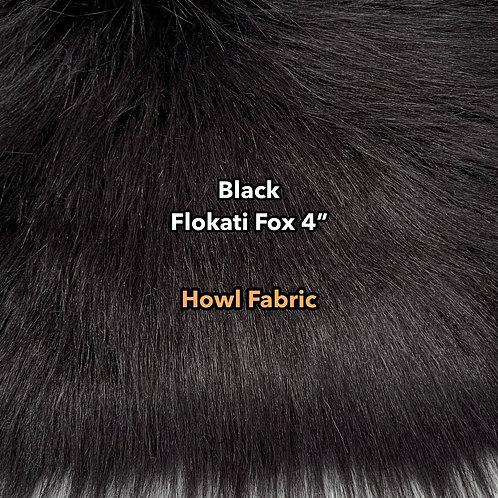 """Natural Black Flokati Fox 4"""" Long Pile Faux Fur"""