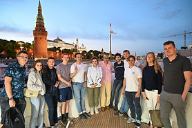 MGIMO Summer Students in front of the Kremlin Wall on a Radisson Moscow River Cruise