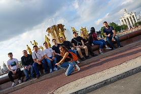 MGIMO University Summer Students in front of the fontain of unity at VDNH, the International Expo Center in Moscow